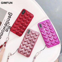 For iphone X,GIMFUN Korean peach heart Jelly Candy case soft TPU 3D Love case For iphone 8 8plus 7 7plus 6 6s 6plus back cover