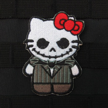 Hello Kitty  Jack Skellington Kitty Military Tactics Morale Embroidery patch Badges B2648