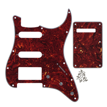 Red Tortoise Shell ST Guitar Pickguard SSH Guitar Tremolo Spring Cover Back Plate 4Ply for FD Strat Guitar(China)