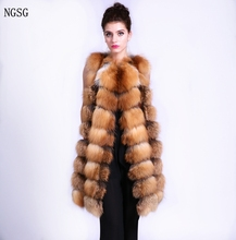 NGSG Real fox fur vest Stripe 90cm women's sleeveless female winter genuine red fox fur coat European And American Style ER40207