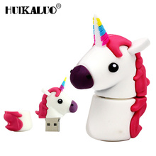 Colorful Unicorn Toy USB flash High simulation usb pen 64GB 32GB 16GB 8GB 4GB 4 colors Cute Pony USB Flash Drive Memory Stick(China)