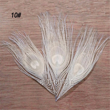 20pcs/lot 4-6''(10-15cm) bleached white real peacock feathers eye fly tying plumes for jewelry craft making bulk sale(China)