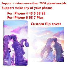 DIY Phone bag Personalized custom photo Picture PU leather case flip cover for iPhone 4 4S 5C 5 5S SE 6 6S 7 8 Plus X(China)