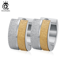 ORSA JEWELS Stainless Steel Earrings with Mixed Silver Color&Gold-Color Small Circle Fashion Punk Rock Earrings for Girls GTE07(China)
