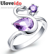 Uloveido 15% Off Fashion Lady Brincos Silver Color Swan Rings for Women Purple Ringen Cubic Zirconia Charms Ring Anime J117