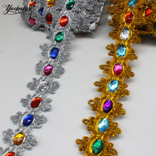 Christmas Lace Diamond Appliqued Lace Braided Crystal Rhinestone Ribbon 3D Gold Flower Sewing Apparel Trim Handmade 4.5cm Wide(China)