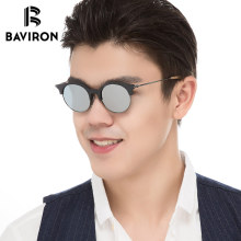 BAVIRON 2018 Wood Grain Sunglasses Alloy Mirror Polarized Outfits Glasses Unisex Look Stylish Hand Make Acetate Sun Glasses 5034(China)
