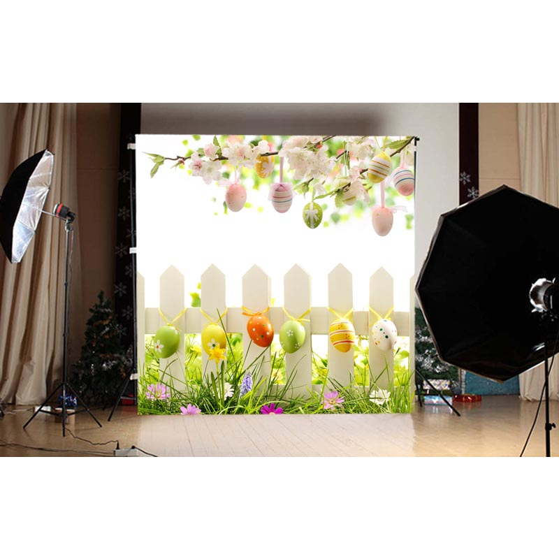 1.5X1.5M green grass and multi-colored easter eggs and blue sky printed photography backdrops for spring theme photo GE-118<br><br>Aliexpress