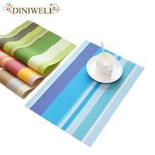 DINIWELL 4 PCS Classic strip PVC Adiabatic Placemat Table Decoration Mat Bowl Pad Cup Coasters For Dinning Bar Place Mat