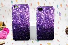 Black Fade to Purple Sparkly Bling Bling Style Hard White Skin Case Cover for iPhone 5 5s 5g 4 4s
