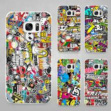 Sticker bomb Hard White Coque Shell Case Cover Phone Cases for Samsung Galaxy S4 S5 S6 S7 Edge Plus