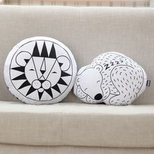 INS HOT Lion Bear Cushion Animal Home Sofa Decoration Round Shape Pillow Children Cartoon Cushion Washable Kids Toy Gift For Kid