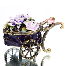 3*2 IN Metal & Crystal Bandwagon Trinket Box Wedding Jewelry Earring Ring Storage Case Birthday Gift DIY Crafts Home Accessories(China)