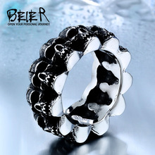 Unique Heavy Metal Skull For Man Stainless Steel Titanium Man's Punk Ring BR8-225(China)