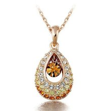 Promotion Price!! Gold Color Angel Tear Rhinestone Necklace Pendant Jewelry 10pcs/lot Free Shipping