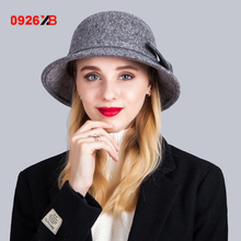 0926XB Classic bow cloche hats for women high quality Australia wool felt hat Autumn Winter Fashion Ladies Bucket cap XB-D617(China)