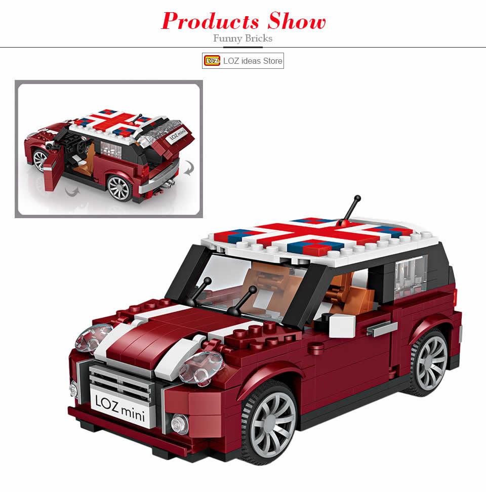 1317pcs LOZ MINI Buliding Car Model Hot Dog Creator Car Diy Building Block Gift