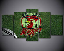 HD Printed 5Piece Home Decor Canvas Art NRL Logo Painting Rooster rugby Wall Prints Poster Canvas Pictures for Living Room(China)