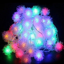 Free shipping Long string light Cotton snow ball light shape 220V 50m Christmas New year Party Wedding livingroom Decoration