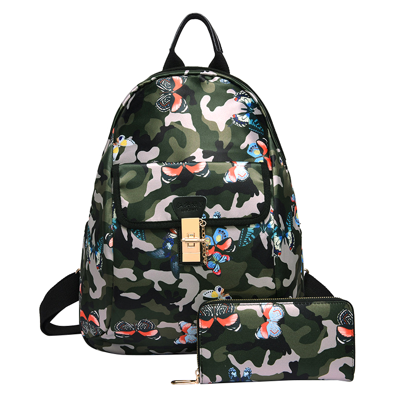 Womens Backpack New Fashion Floral Print Oxford School Bags Teenager Girls Composite Bags Travel Mochila With Small Pack Sac<br>