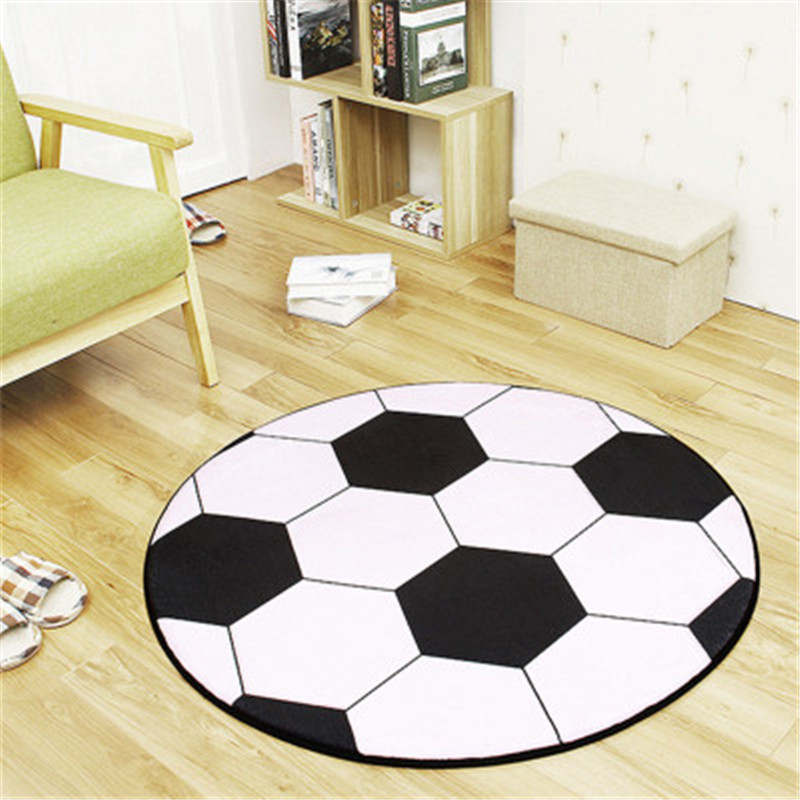 Football Rug Diameter 80cm/95cm Round Carpets And Rugs For Children Room  Skidproof Area Carpet