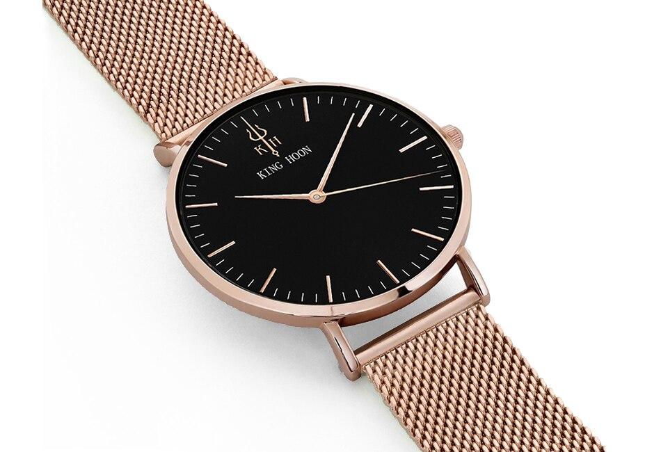 KING HOON Luxury Steel Mesh Women Watch Ladies Ultra Thin Stainless Steel Band Quartz Wristwatch Fashion Female Clock Relogio