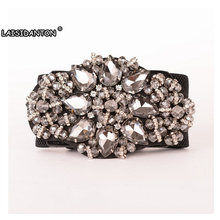 LAISIDANTON Women'S Wide Elastic Rhinestones Floral Designed Belts Luxury Crystal Retro Girls Jeweled Decorated Girdle