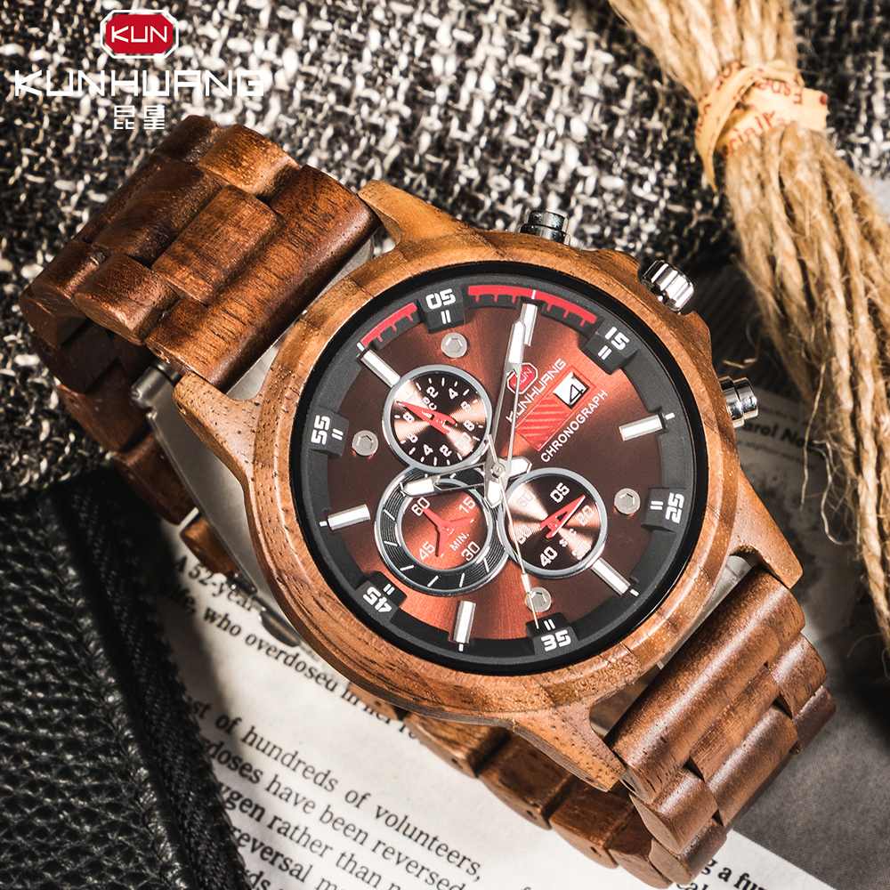 Wooden Watches Chronograph Japanese-Movement Date Handmade Top-Brand Sport Mens  title=