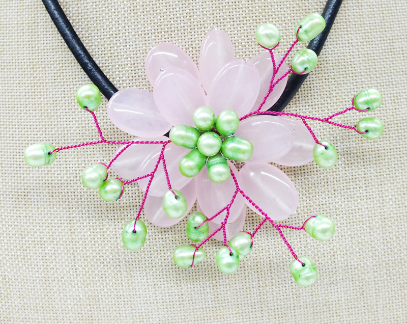NO-278#  Like, you buy it  ! ! Last necklace  semi-precious stone  flower necklace