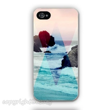 Promotional Discount ink x Blue Geometric Shapes x Rock Beach Waves Phone Case Cover for iPhone 4 4s 5 5s 5c 6 6 plus Wholesale