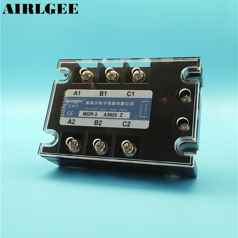 High Power 3 Phase SSR Solid State Relay AC70-280V Loading AC380V 25A with Aluminum Heat Sink<br>