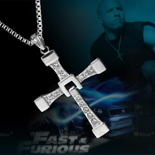 New 60cm Long Chain New Fast and Furious Seven Dominic Toretto / Vin Diesel Silver Plated Cross Necklace for Men(China)