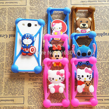 Anti Knock Silicone 3D Cartoon Stitch kitty Universal Phone Frame Bumper Case For iPhone 4 4s 5 5s 6 6s 7 7s Plus 8 3.5-6 inch