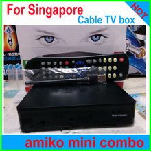 2017 StarHub box Singapore cable box TV receiver Amiko Mini hd DVB-C set top box watch football P streambox c1 qbox+wifi adapter