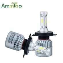 AmmToo H4 H7 LED Car Headlight 12V COB H11 9005 9006 Car Light 72W 8000lm Auto Bulb Headlamp 6000K Light High Low Beam car Bulb(China)
