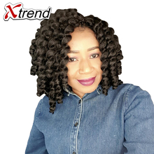 Xtrend 8inch 20roots Jamaican Bounce Jumpy Wand Crochet Hair Synthetic Kanekalon Braiding Hair Extensions Black Blonde Brown(China)