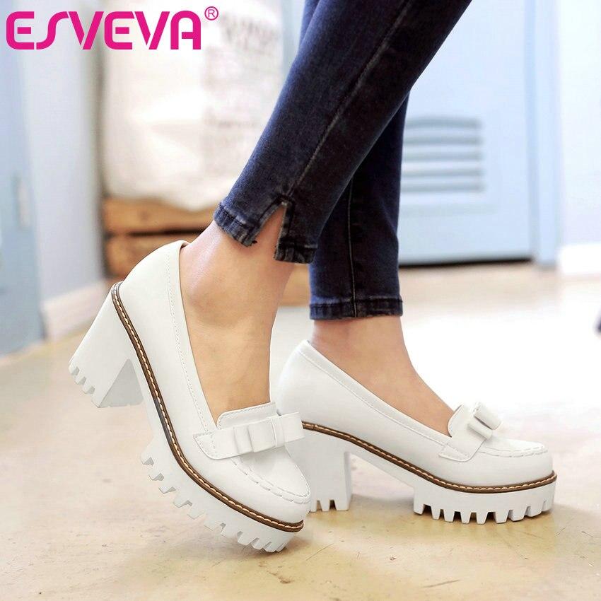ESVEVA 2017 Sweet Pink  Bowtie Women Pumps Women PU Slip on Shoes Spring Autumn Shoes Punk White Platform Women Pumps Size 34-43<br>