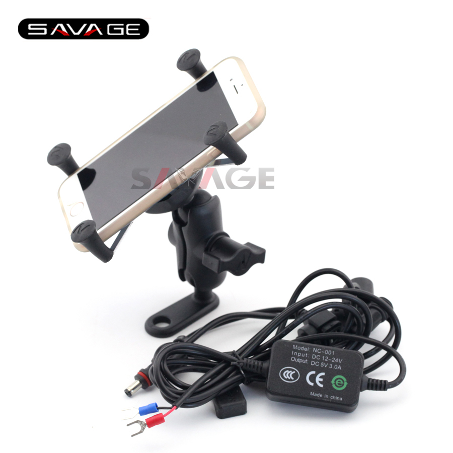 For SUZUKI GW250 GSR600 GSR750 GSX-S 750/1000 Motorcycle Navigation Frame Mobile Phone Mount Bracket with USB charger<br>