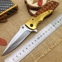 Browning camping folding knife Stainless steel blade + wooden handle Hunting best knives survival outdoor pocket hand tools EDC(China)