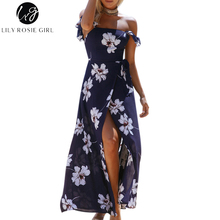 Buy Lily Rosie Girl Elegant Shoulder Boho Floral Print Dress Sexy Backless Summer Beach Maxi Long Split Party Dresses Vestidos for $15.99 in AliExpress store