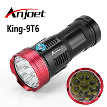 Anjoet 15000 lumens Tactical light King 9T6 LED flashlamp 9x XM-L T6 LED Aluminum Torch Lamp Light For Hunting Camping 4x18650