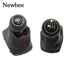 Newbee PU 5 /6 Speed Gear Shift Knob With Leather Gaiter Boot Cover For Audi A3 S3 2001 2002 2003 Car Styling 12mm Red Stitch(China)