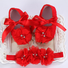 baby moccasins toddler;first walker brand baby shoes girls headband set;newborn baby girls shoes christening(China)
