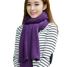Winter Pure Wool Unisex Scarves Warm Knitting Acrylic Muffler Long Thick Fashion Shawl 19 Colors Winter Scarf(China)