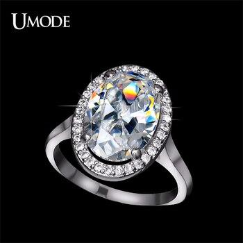 Umode magnífico de halo anillo de compromiso impresionante ultra gran 6 carat Huevo ovalado CZ y Micro Cubic Zirconia Anillo de Bodas de Moda UR0144