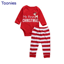 New Design Toddler Sports Wear 2017 Christmas Clothing Set Cute Cartoon Letter Jumpsuit+Pant Two Suits Long Sleeved Baby Clothes(China)