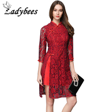 LADYBEES Red Lace Chiffon Dresses Women Elegant Party Dress Floral Print Side Split Casual Chinese style Traditional Clothing