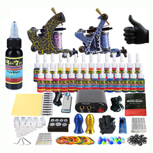 Starter Beginner Complete Tattoo Kit Professional Tattoo Machine Kit Rotary Machine Guns 28 Inks Power Supply Grips Set Tk204-36