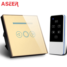 ASEER,EU Standard Tempered Crystal Glass Touch wall light switch Remote Control Dimmer Switch 500W,with controller,Free shipping(Hong Kong)