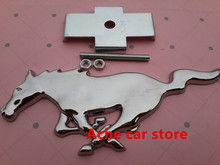 Free shipping High quality 3D Metal Mustang Running Horse car emblem logo Front Hood Grille badge Car styling Auto Accessories(China)